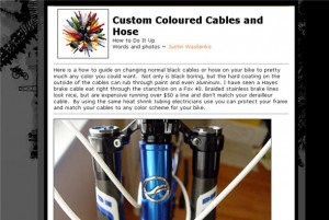 screenshot of mountain bike cable customisation