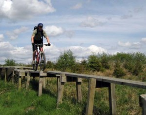 Mountain biker riding along a wooden bridge under a blue sky