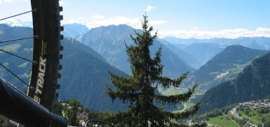The view from a verbier chairlift - mountains and blue sky