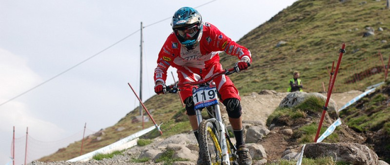 Mountain biker at the Fort William mountain bike world cup