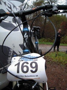 A bike with Relentless 24 race number on it. No Fuss Events