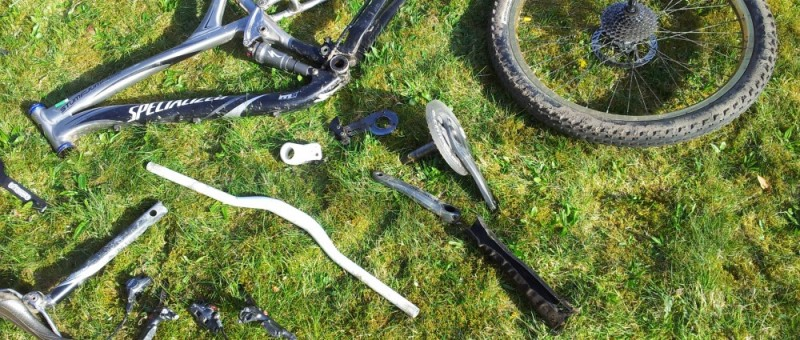 Mountain Bike Parts - A Disassembled Bike
